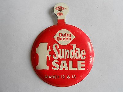 Vintage Dairy Queen One Cent Sundae Sale Advertising Fold Tab Pinback Button