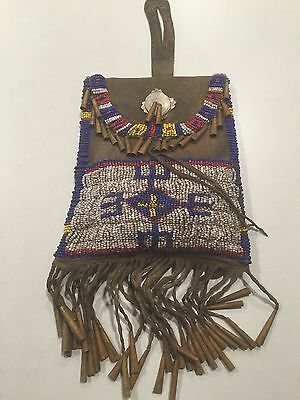 RARE BEADED STRIKE-A-LITE POUCH -CIRCA 1880's -1890's With CONTENTS