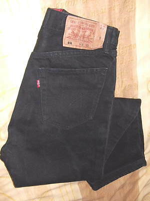 "Genuine Levi 501 Black Denim Jeans Red Tab Button Fly W31""- L28"" Made In USA"