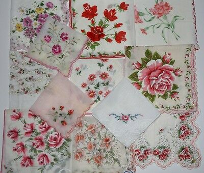 12 Vintage Floral Handkerchiefs Hankies Shabby Roses Scalloped Embroidery Labels