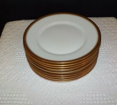 SET OF EIGHT Wm. Guerin  Limoges Gold Art Deco Greek Key & Dots SALAD PLATES