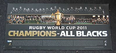 New Zealand All Blacks 2011 Rugby World Cup Champions Team Panoramic Print