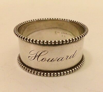 Vintage Watrous Sterling Silver Round Napkin Ring Engraved Howard