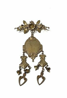 Antique Vintage Gold Tone Victorian Style Large Pin Brooch Etched