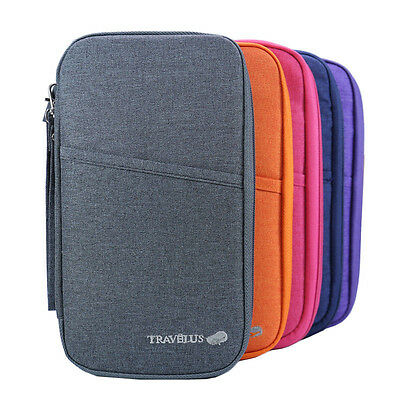 Portable Passport Credit Card Ticket Holder Document Organizer Bag Wallet Case.