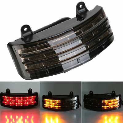 Black Tri-Bar Fender LED Tail Brake Signal Light for Harley Street Glide Touring