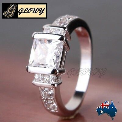 18K White Gold Filled Engagement Crystal Diamond Ring  GLOWY GF Size 7