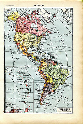 1922 NORTH SOUTH LATIN AMERICA ANTILLES Antique Map Larousse