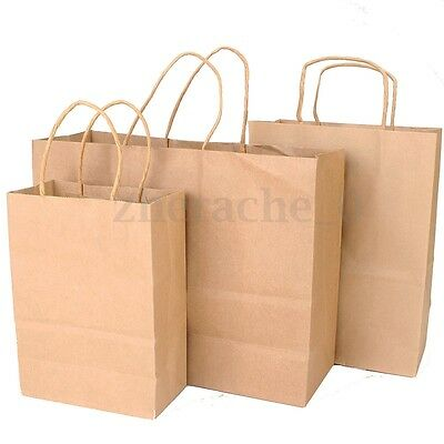 AU 10-50Pcs Bulk Kraft Paper Gift Carry Shopping Bags Retail Food Rope Bag Party
