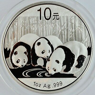 2013 Chinese Panda 1 Ozt .999 Silver Coin In Capsule 10 Yaun Uncirculated China