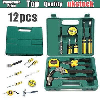 Professional 12PCS Basic Tool Box DIY Set Fix Repair Home Hand Carry Household