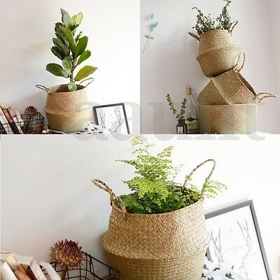 Seagrass Belly Basket Storage Plant Pot Foldable Nursery Laundry Bag Room Decor