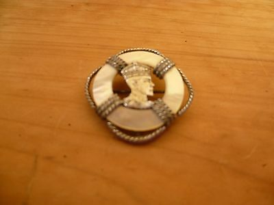 Antique Old Silver Mother Of Pearl King Edward? Coronation Brooch, (A441)