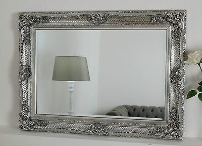 "Abbey Silver Shabby Chic Rectangle Antique Wall Mirror 44"" x 32"" V Large"