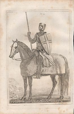 1801 Antique Military Print - Armour Plate 36 Armed And Suited Knight, Henry Ii