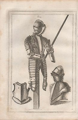 1801 Antique Military Print - Armour Plate 23 Tilting Armour