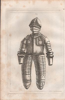 1801 Antique Military Print - Armour Plate 16 Horseman's Armour