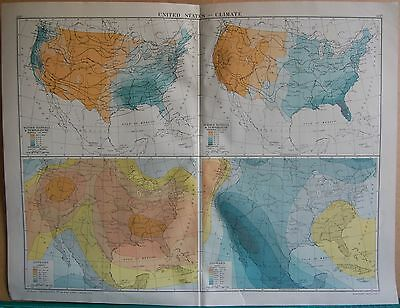 1919 Large Map- United States , Climate, 4 Images