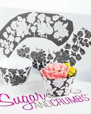 Monochrome Rose Cupcake Wraps Pack of 12