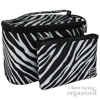 Black & White Zebra Pattern Soft Sided Train Case & Makeup Bag Purse Girly Teens