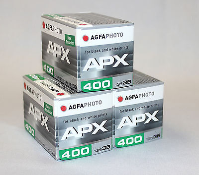 Agfaphoto Agfa APX 400 asa 36exp 35mm 3 Pack Black & White Film New Fresh Stock