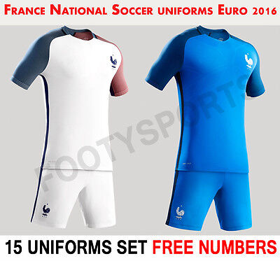 France Team 16/17 Soccer Uniform 15 Sets US Sizes Free Numbers FOOTYSPORTS