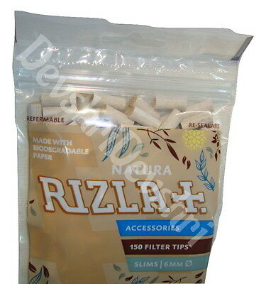 Rizla Natura Filter Tips Slim 6MM 150 Tips Re-Sealable Pack Biodegradable Paper