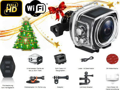 Action Cam 360° WiFi - Sportkamera Wasserdicht Helmkamera 30 FPS - Full HD 1080p
