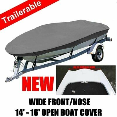 NEW Wide Front Nose Bottom 14-16ft 4.2-4.8m Trailerable Tinnies Open Boat Cover