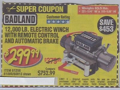 Harbor Freight SAVE $453 *** COUPON*** for 12,000 LB. Electric Winch with Remote
