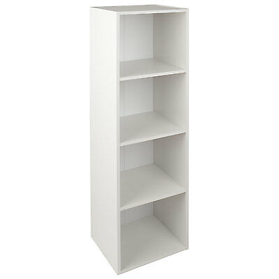 Christow 4 Shelf White Wooden Storage Unit Bookcase (Small Markings)