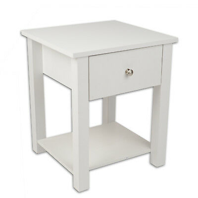 Christow Wooden Bedside Table Draw Nightstand White (Small Markings)
