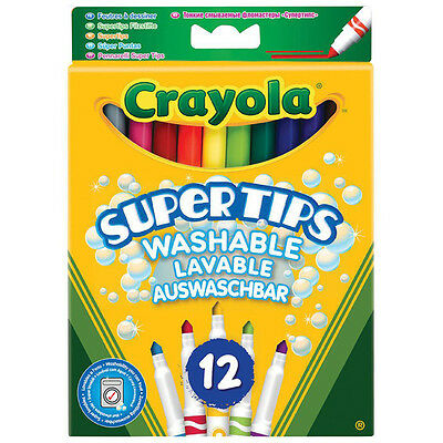 Crayola 12 Bright Washable Super Tips Coloured Supertips Markers - Kids - School