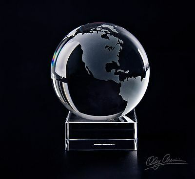 "Oleg Cassini 4.25"" crystal paperweight-GLOBE w stand -WORLD MAP gift box,Travel"