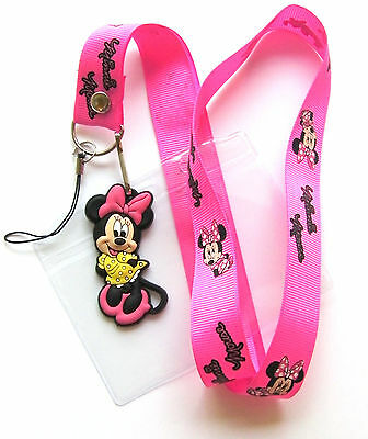 * Disney Lanyard Minnie Mouse Lanyard With Charm With Pass holder * UK