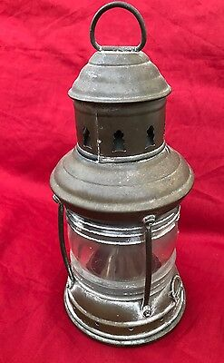 Antique Brass Perko Marine Oil Lamp/Lantern w/Orig Glass Globe 10""