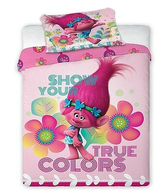 Trolls Poppy 'Show Your True Colors' Reversible Panel Single Bed Duvet Quilt Cov