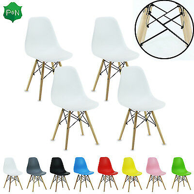 Set 4x Eiffel DS Dining Chairs Retro ABS Plastic White Black Grey Red Green