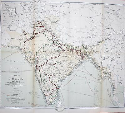 1885 Stanford Map India Rail Trade Telegraph Seaports Lighthouses Steamships