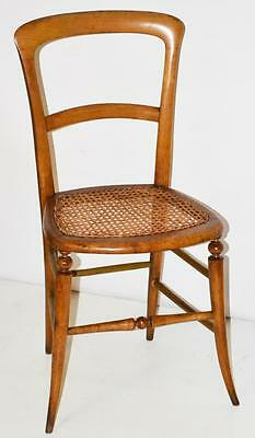 Antique Victorian Walnut Balloon Back Chair Cane Seat - FREE Shipping [PL3402]