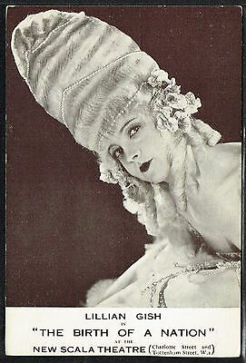 "Lillian Gish in ""The Birth Of A Nation"" 1910s Advert Card (Film/Movie Star) ☆"