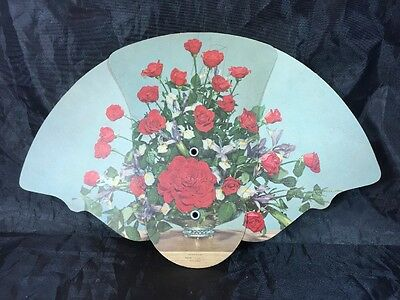 Vintage Tri Fold Paper Advertising Fan Roses Bouquet Funeral Home Franklin OH