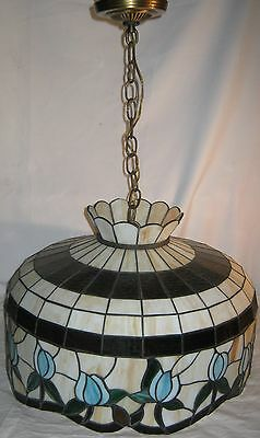 Vintage Tiffany Style Hanging Floral Design Tulips Ceiling Lamp