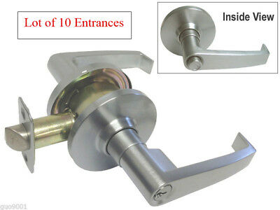 Lot of 10 Entrances Satin Chrome Grade 2 Commercial Door Lock lockset free ship