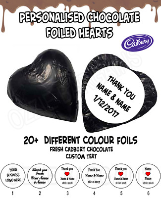 500 PERSONALISED CHOCOLATE HEARTS -Melt in Mouth Cadbury- WEDDINGS / BOMBONNIERE