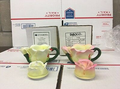Lot Of 2 Enesco & Otagiri Rose Pedal , Yellow & Pink Mini Teapot