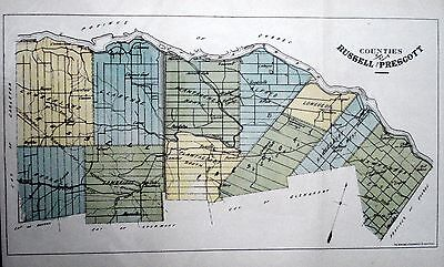 Russell Prescott Counties Ontario Canada 1881 orig map Agricultural Commission