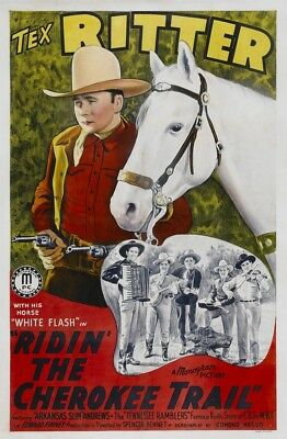 Ridin' The Cherokee Trail Top Left: Tex Ritter 1941. Movie Poster (11 x 17)