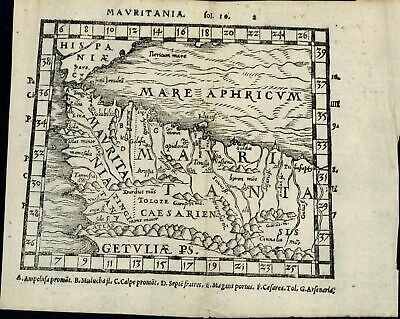 Mauritania North Africa Gibraltar Morocco 1579 Petri woodblock old antique map