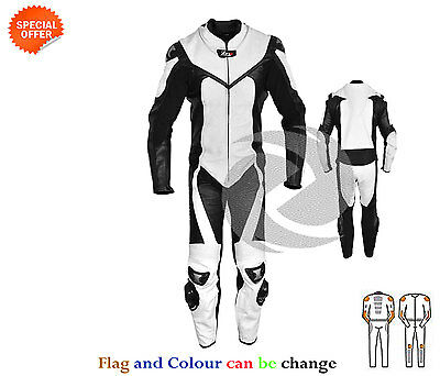 Black and white one piece motogp racing leather suit motorbike racing gears sale